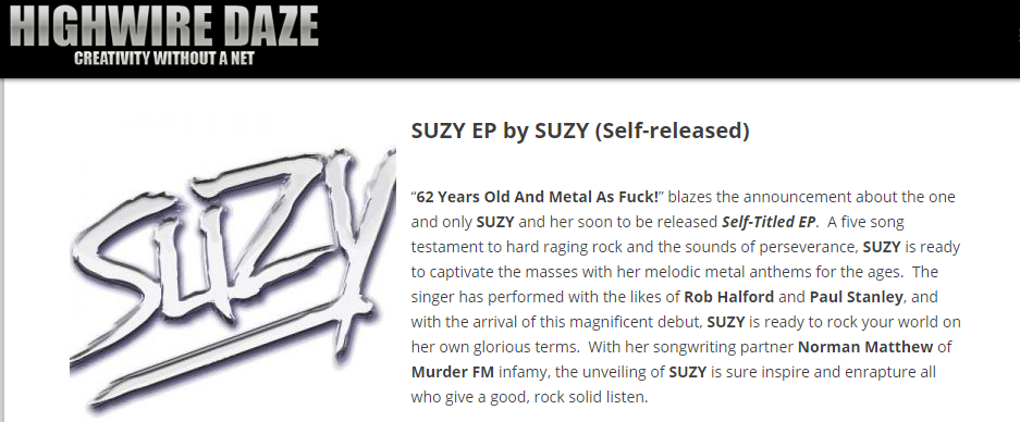 Highwire Daze Suzy article snippet