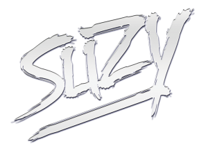 Suzy silver logo with a transparent back
